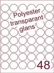Etiket rond ø 32mm (48) polyester Transparant glans ds100vel A4 Laser (POR48-6)