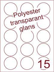 Etiket polyester Transparant glans rond ø 50mm (15) ds100vel A4 Laser(POR15-3)