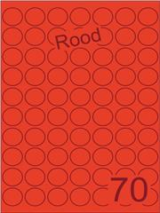 Etiket rood rond ø25mm (70) ds200vel A4