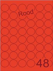 Etiket rood rond ø32mm (48) ds100vel A4