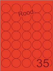 Etiket rood rond ø35mm (35) ds200vel A4