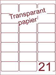 Etiket Transparant papier mat 63,5x38,1 (21) ds200vel A4 (TPA21-3)