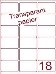 Etiket Transparant papier mat 63,5x46,6 (18) ds200vel A4 (TPA18-3)