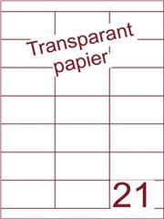 Etiket Transparant papier mat 70x38,1 (21) ds200vel A4 (TPA21-3)