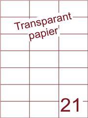 Etiket Transparant papier mat 70x42,4 (21) ds200vel A4 (TPA21-3)