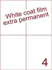 Etiket Whitecoat film wit mat extra permanent 105x148,5 (4) ds300vel A4 (WFH 4-2)