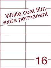 Etiket Whitecoat film wit mat extra permanent 105x37,1 (16) ds300vel A4 (WFH 16-3)