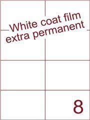 Etiket Whitecoat film wit mat extra permanent 105x74,25 (8) ds300vel A4 (WFH 8-2)