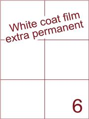 Etiket Whitecoat film wit mat extra permanent 105x99 (6) ds300vel A4 (WFH 6-2)