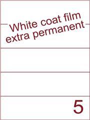 Etiket Whitecoat film wit mat extra permanent 210x59,4 (5) ds300vel A4 (WFH 5-1)
