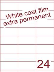 Etiket Whitecoat film wit mat extra permanent 70x35 (24) ds300vel A4 (WFHG 24-3)