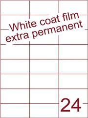 Etiket Whitecoat film wit mat extra permanent 70x37,1 (24) ds300vel A4 (WFH24-3H)