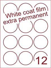 Etiket Whitecoat film wit mat extra permanent rond Ø60mm (12) ds300vel A4 (WFR 3-12)