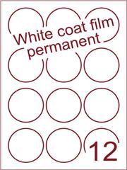 Etiket Whitecoat film wit mat rond Ø60mm (12) dsds300vel A4 (WFR 3-12)