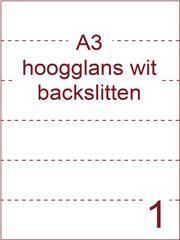 Etiket A3 wit papier hoogglans 297x420 ds 400vel met rugslitten van 29,7 cm om de 7 cm (A3/1-1 BS)