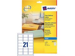 Etiket AVERY Inkjet 63,5x38,1 transparant/pak 525