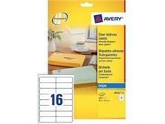 Etiket AVERY Inkjet 99,1x33,9 transparant/pak 400