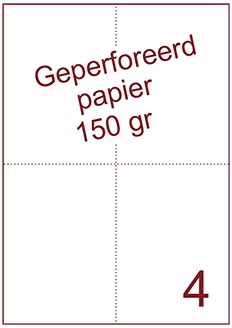 A4 Laser papier 150gr geperforeerd 105 x 148,5 mm ds1200vel