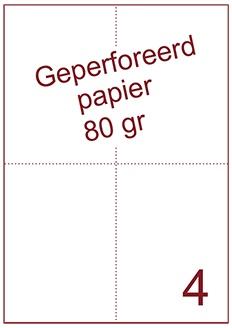 A4 Laser papier 80gr geperforeerd 105 x 148,5mm ds2500vel
