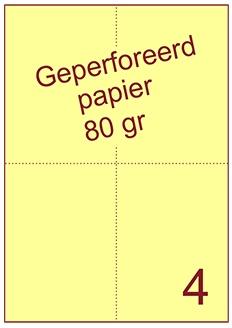 A4 Laser papier geel 80gr geperforeerd 105 x 148.5mm ds2500vel